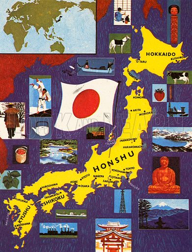 Japan, the capital of this country is Tokyo and its most famous mountain is Mount Fujiyama. The emperors of Japan at one time claimed to be divine. This idea was repudiated by Emperor Hirohito on 31st December, 1945, after Japan had suffered defeat in World War II.
