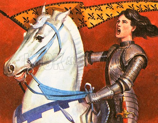 Joan of Arc, born in 1412, was a shepherdess who heard heavenly voices urging her to seek out the French Dauphin (heir to the throne) and tell him of her mission to drive the English out of France and lead him to Reims cathedral to be crowned. She was captured by the British, tried for heresy, and burned at the stake at Rouen.