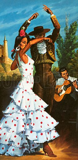 These dancers are performing one of their spectacular flamenco dances. The city of Seville, in Andalucia, is considered the traditional home of flamenco music and dance.