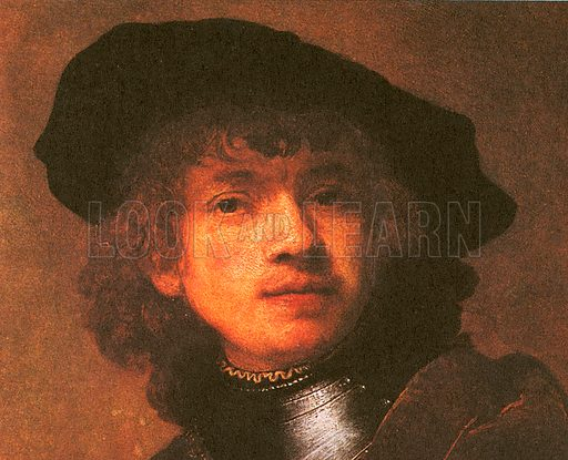 The picture shows a self-portrait by the Dutch artist Rembrandt. There are about 650 known paintings by Rembrandt van Rijn (1606-1669), of which 60 are self-portraits. At one time there were thought to be as many as 90, but many of these are now believed to be by other artists.
