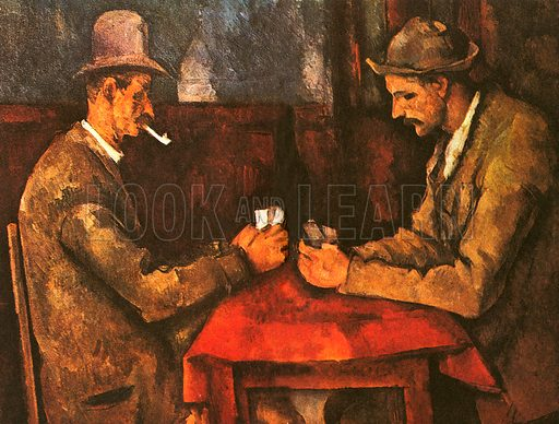 This picture is The Card Players by Paul Cezanne. Monet, Sisley, Renoir, Pissaro, Cezanne, Degas, Berthe Morisot and others made up a group of painters who were given a special name called Impressionists. The group got its name from a negative review of a painting by Claude Monet called Impression, Sunrise. Cezanne later parted from the Impressionists and is usually thought of today as a post-Impressionist.