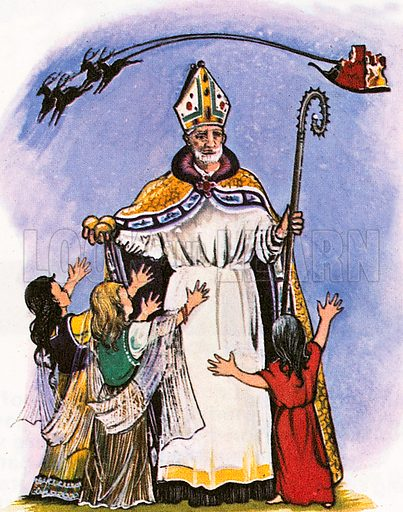 St Nicholas is perhaps the favourite saint of many children. He lived in 4th century Myra in what is today Turkey. It is said that he learned that a poor man could not afford a proper dowry for his three daughters and St Nicholas threw bags of gold down his chimney in the middle of the night.