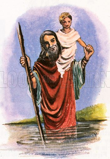 St Christopher was a giant whose job was carrying travelers across a river. One day, a small child asked to be carried across. When Christopher remarked how heavy he was, the boy identified himself as Jesus and explained that he was carrying the sins of the world.