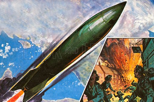 September 8, 1944 saw the first modern rocket V.2 used during the Second World War fall on London. It was fired all the way from Germany. The V.2 traveled at supersonic speed, it could not be heard before it arrived--unlike the V.1 bomb used earlier, which had been nicknamed Buzz Bomb and Doodlebug.