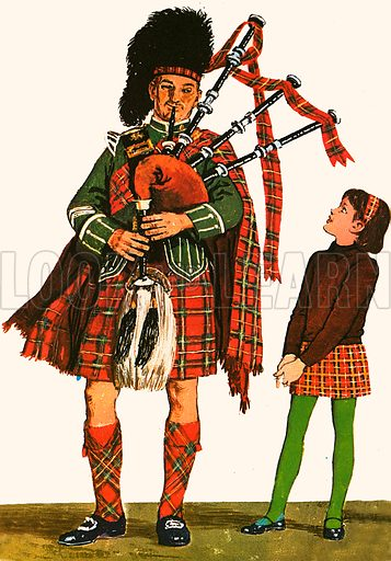 The man in the picture is playing a Scottish traditional musical instrument called Bagpipes. The bagpiper continuously blows wind into the bag or windchest and pushes it out with his arm while playing the tune with his fingers on the chaunter or melody pipe.