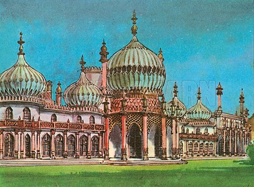 The Brighton Pavilion was designed by John Nash between 1815 and 1822 for the Prince Regent, who became George IV. The style is Chinese and Indian.