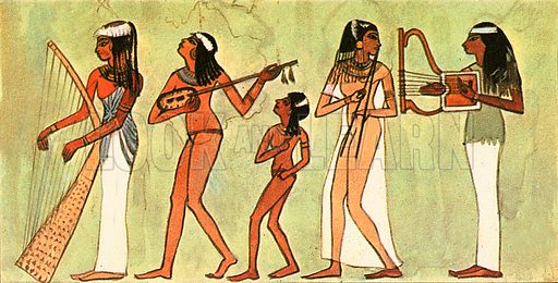 This ancient Egyptian wall painting shows musicians playing a variety of musical instruments. Egyptian tombs were decorated with scenes of the afterlife. Because of the arid climate many have survived for thousands of years.