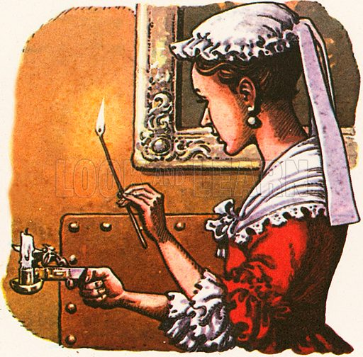 The maid in this picture is lighting a taper with a tool that strikes a flint against a piece of steel to make a spark.