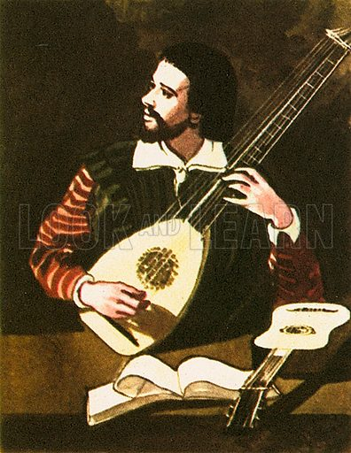 The picture shows a man playing a Lute that was popular in the Middle Ages.