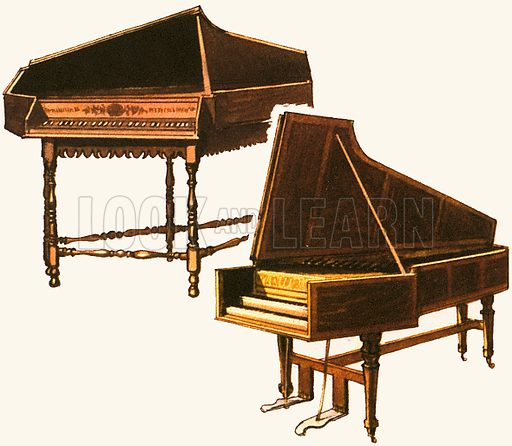 Spinet and harpsichord, picture, image, illustration