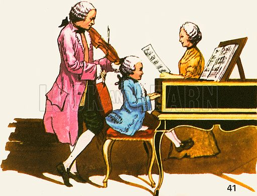 The picture shows an 18th century family group at its music. The little boy at the keyboard who became a very great composer is Mozart. Wolfgang Amadeus Mozart (1756-1791) began learning the clavier and violin at the age of three. By five, he was composing his own music.