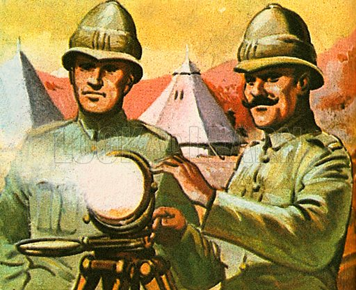 The picture shows Henry Mance and a colleague in the British army with their heliograph, an instrument that uses a mirror to focus the rays of the sun.