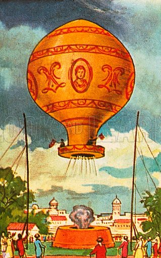 The picture shows the first flight of a hot-air balloon on 21st November 1783. The balloon  was filled with hot air by being placed over a fire burning through a hole in a platform. The Montgolfier brothers were the baloonists.