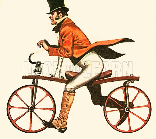 The machine in the picture is of 1818 vintage. It is called a Hobby Horse. This primitive kind of bicycle was also called dandy-horse. It has no pedals or gears, so it is really more of a scooter than a bicycle.