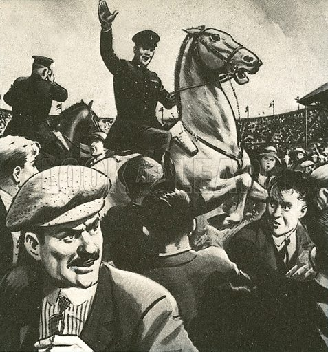 An unprecedented crowd came to see Bolton Wanderers play West Ham in the 1923 FA Cup Final. Just before the game was due to begin, a mass of people overflowed onto the pitch. Riot and disaster seemed imminent, but the day was saved by mounted policemen, and one in particular on a white horse, who brought the crowd under control. The match was being played at Wembley stadium. 240,000 people are thought to have squeezed into a stadium built for 127,000. The event became known as the White Horse Final.