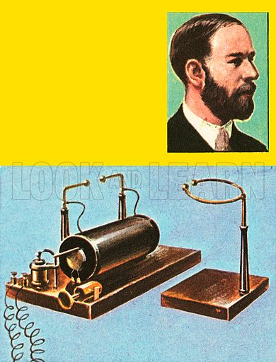 With the apparatus Heinrich Hertz proved that an electric spark produced impulses which travel through the air. A spark leaped across contacts on the left, inducing current in the ring on the right.