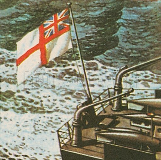 """White Ensign. Only the Royal Navy and the Royal Yacht Squadron are allowed to fly this flag. It consists of a St George's cross on a white field with a Union Jack in an upper """"canton.""""."""