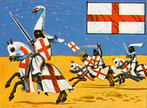 The first real English ensign was the red cross on a white background. It was called St George's Cross. It probably appeared in the 12th century. This flag was used as a standard to be carried into battle and used as a rallying point.