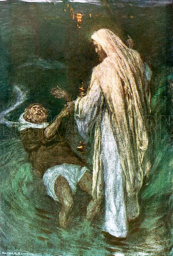 """Christ walking on the sea. Illustration from William Canton's """"The Bible Story"""" (c 1910); original 12cm by 16cm."""
