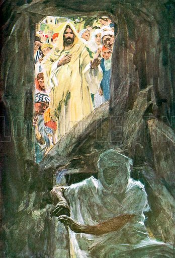 "The Raising of Lazarus.   Illustration from William Canton's ""The Bible Story"" (c 1910); original c 12cm by 16cm."