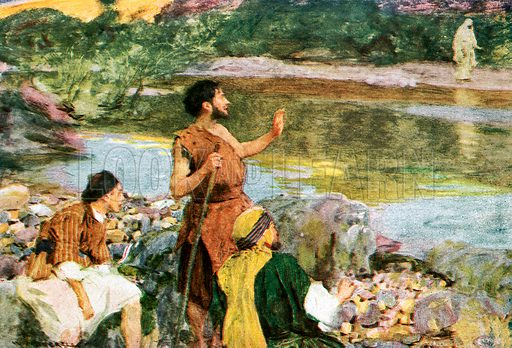 "John looking upon Jesus as He walked, said, "" Behold, the Lamb of God!"" Illustration from William Canton's ""The Bible Story"" (c 1910); original c 12cm by 16cm."