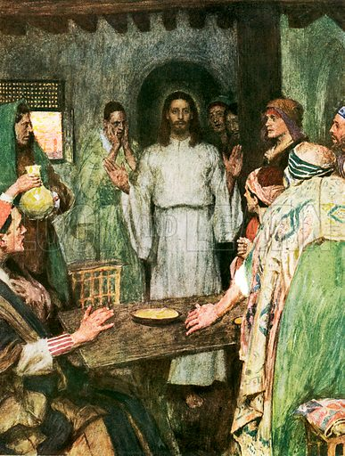 """Then came Jesus and stood in their midst. Illustration from William Canton's """"The Bible Story"""" (c 1910); original c 12cm by 16cm."""