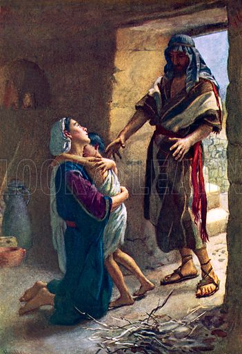 The widow of Zarephath. Illustration in 'The Women of the Bible' (c 1920).