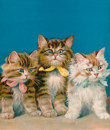 Three little kits. Illustration for Picture Book Playmates (Ernest Nister, c 1890). Chromolithograph.