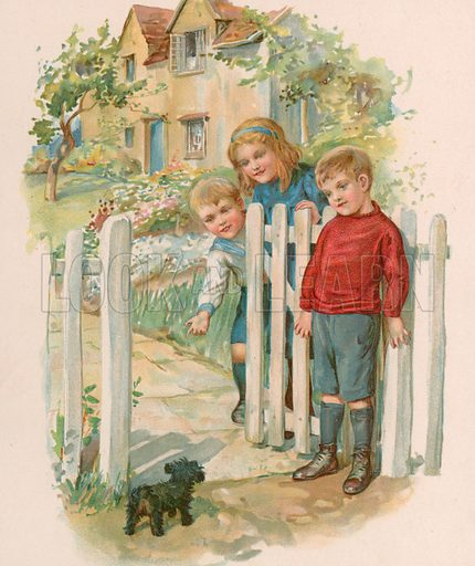 A little waif. Illustration for Picture Book Playmates (Ernest Nister, c 1890). Chromolithograph.