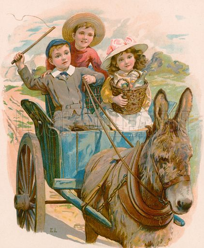 Gee-up Neddy. Illustration for Picture Book Playmates (Ernest Nister, c 1890). Chromolithograph.