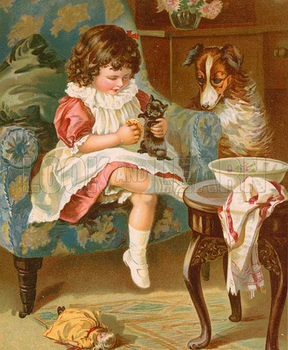 Kitty's Toilet. Illustration for Picture Book Playmates (Ernest Nister, c 1890). Chromolithograph.