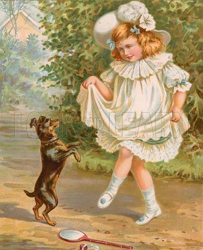 Learning to dance. Illustration for Picture Book Playmates (Ernest Nister, c 1890). Chromolithograph.