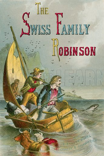 Title page: The Swiss Family Robinson. Illustration for The Swiss Family Robinson (Nelson, 1874).