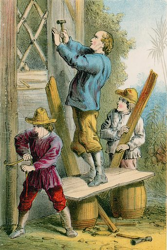 Repairing Falcon's Nest. Illustration for The Swiss Family Robinson (Nelson, 1874).