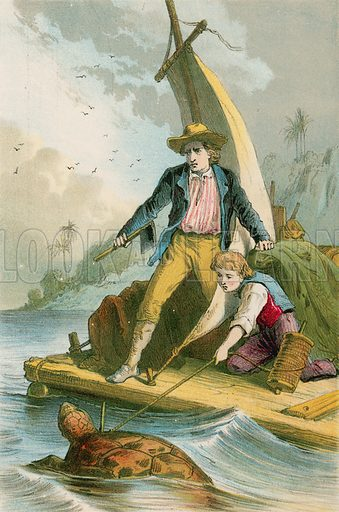 Catching a turtle. Illustration for The Swiss Family Robinson (Nelson, 1874).