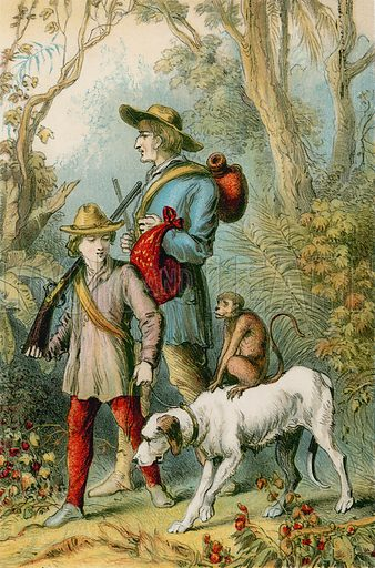 Bringing home the monkey. Illustration for The Swiss Family Robinson (Nelson, 1874).