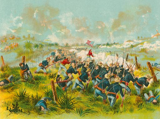 Charge of American Troops at San Juan Hill, 1 July 1898. Illustration for Lives of the Presidents in words of one syllable by Harriet Putnam (McLoughlin, c 1900).