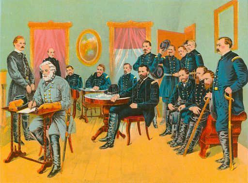 General Lee signing the terms of peace drawn up by General Grant.  Illustration for Lives of the Presidents in words of one syllable by Harriet Putnam (McLoughlin, c 1900).