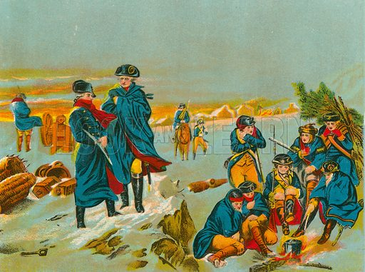 Washington and Lafayette at Valley Forge. Illustration for Lives of the Presidents in words of one syllable by Harriet Putnam (McLoughlin, c 1900).