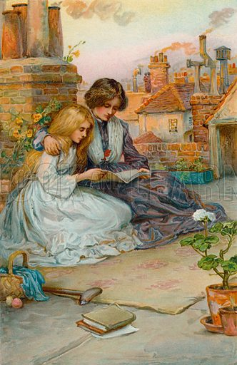 The Garden on the House Top. Illustration for Child Characters from Dickens (Ernest Nister, c 1900).