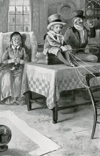 Every evening Mrs Lirriper and the Major travelled many miles with Jemmy. Illustration for Child Characters from Dickens (Ernest Nister, c 1900).