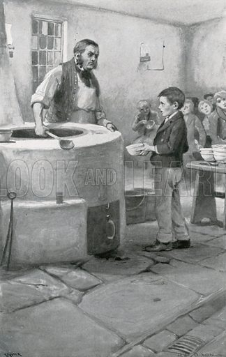 Please sir I want some more. Illustration for Child Characters from Dickens (Ernest Nister, c 1900).