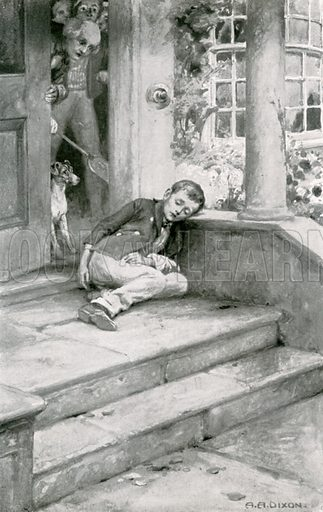 Oliver sat down against one of the pillars. Illustration for Child Characters from Dickens (Ernest Nister, c 1900).