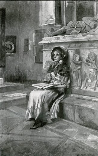Nell passed many a silent, happy hour beside the old, old tombs. Illustration for Child Characters from Dickens (Ernest Nister, c 1900).