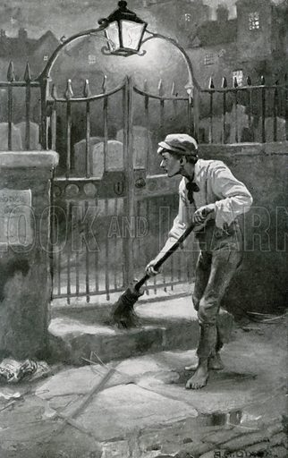Jo softly sweeps the step. Illustration for Child Characters from Dickens (Ernest Nister, c 1900).