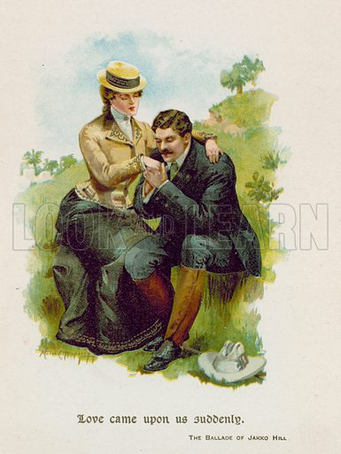 The Ballade of Jackko Hill. Illustration for Through the Year with Kipling (De Wolfe, Fiske & Co). Chromolithograph.