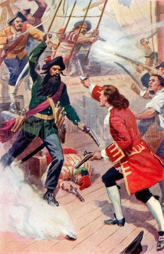 Duel between Maynard and Teach (Blackbeard). Illustration for Daring Deeds of Famous Pirates by E Keble Chatterton (Seeley, Service & Co, 1929).