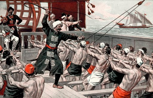Galley slaves. Illustration for Daring Deeds of Famous Pirates by E Keble Chatterton (Seeley, Service & Co, 1929).