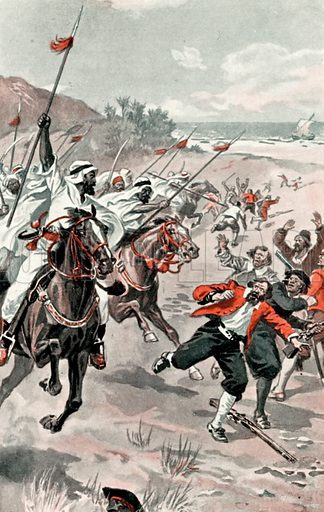 Seamen attacked by Arab horsemen. Illustration for Daring Deeds of Famous Pirates by E Keble Chatterton (Seeley, Service & Co, 1929).