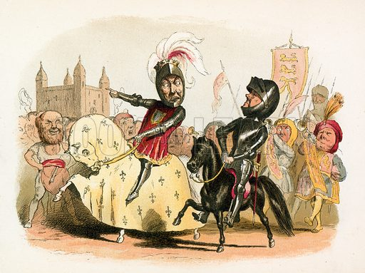 The Black Prince and the French King entering London. Scenes from English history (Pall Mall Gazette Office, 1886).